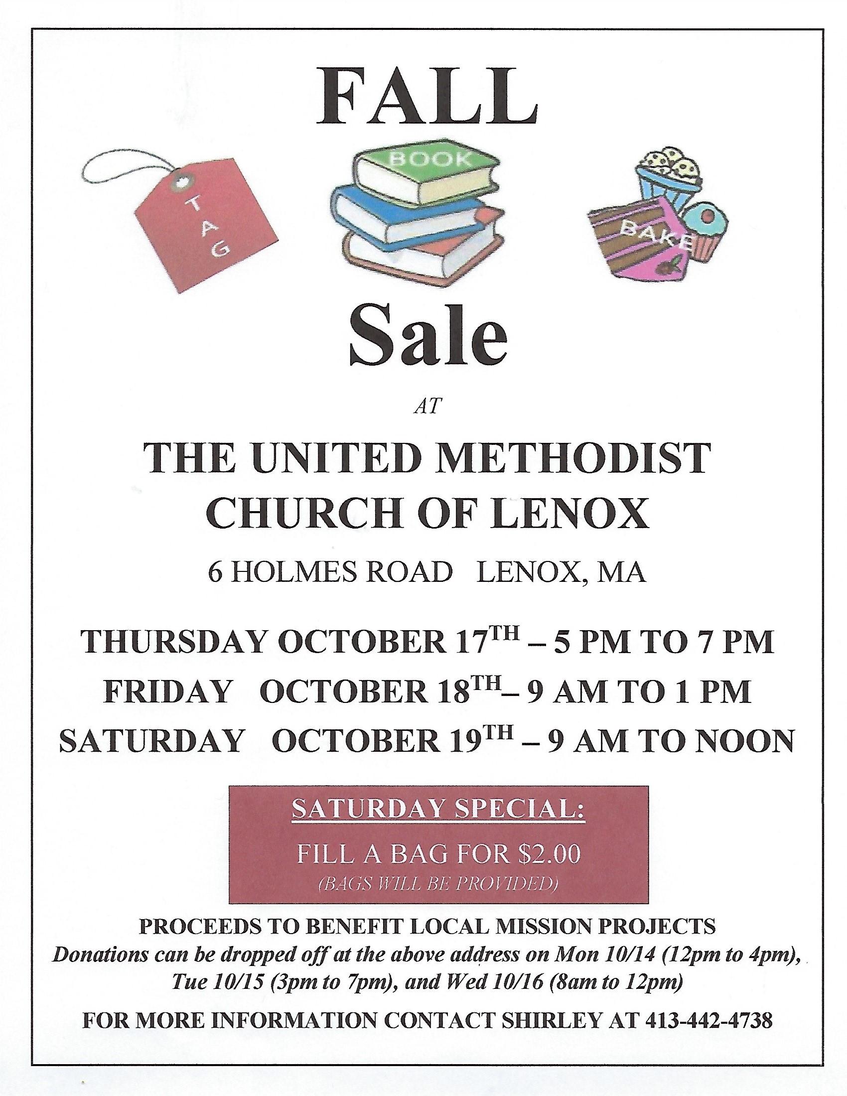 Fall Tag, Book & Bake Sale